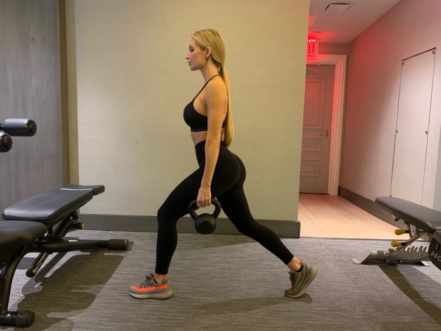 Amanda Lee Working Out with Kettlebell
