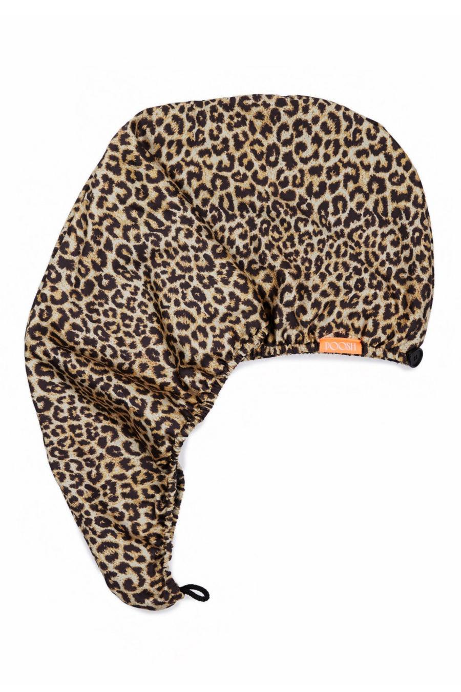 Aquis x Poosh leopard print turban