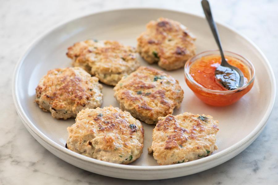 Gluten-Free Mini Turkey Patties on plate with sauce