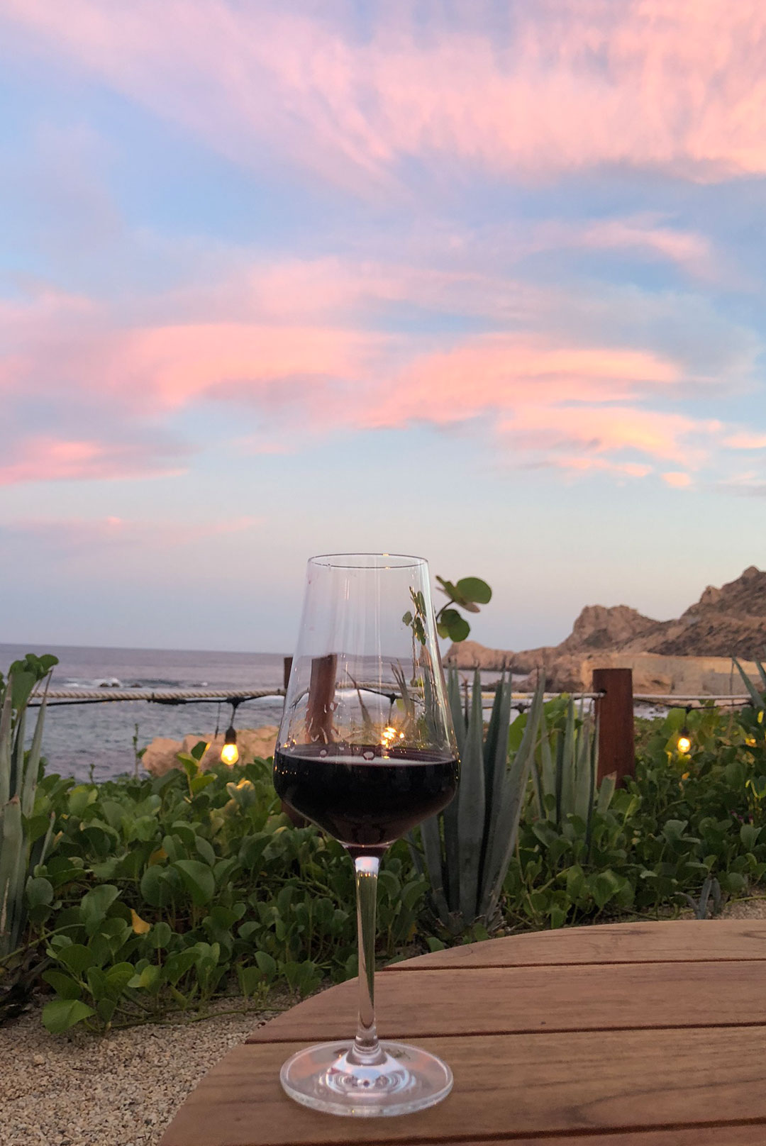 wine glass by sunset in mexico