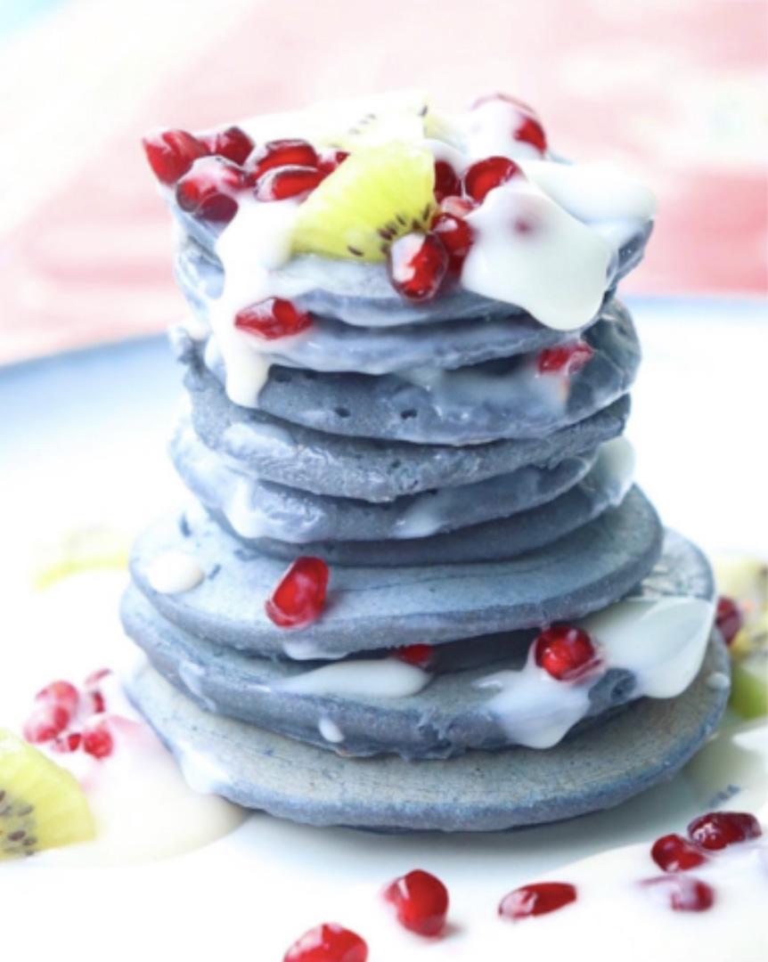 stack of blue pancakes