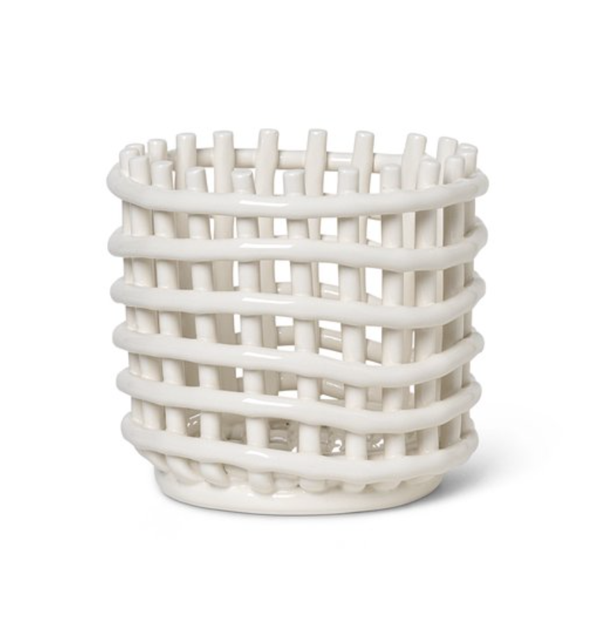 Burke Decor Ceramic Basket - Off-White in Various