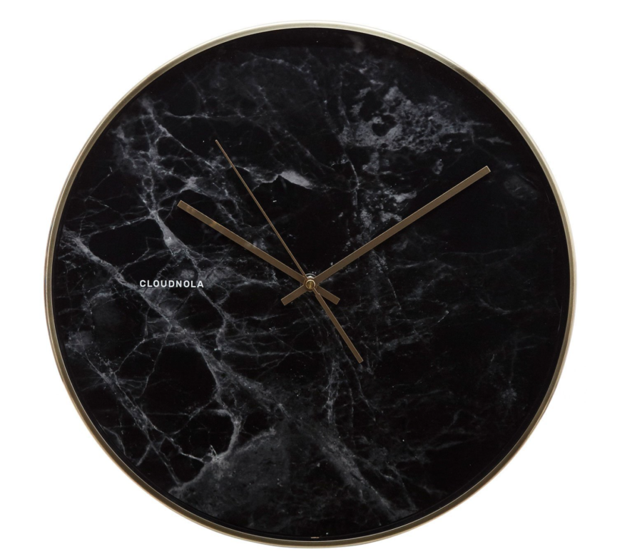 Burke Decor Structure Black Marble Wall Clock