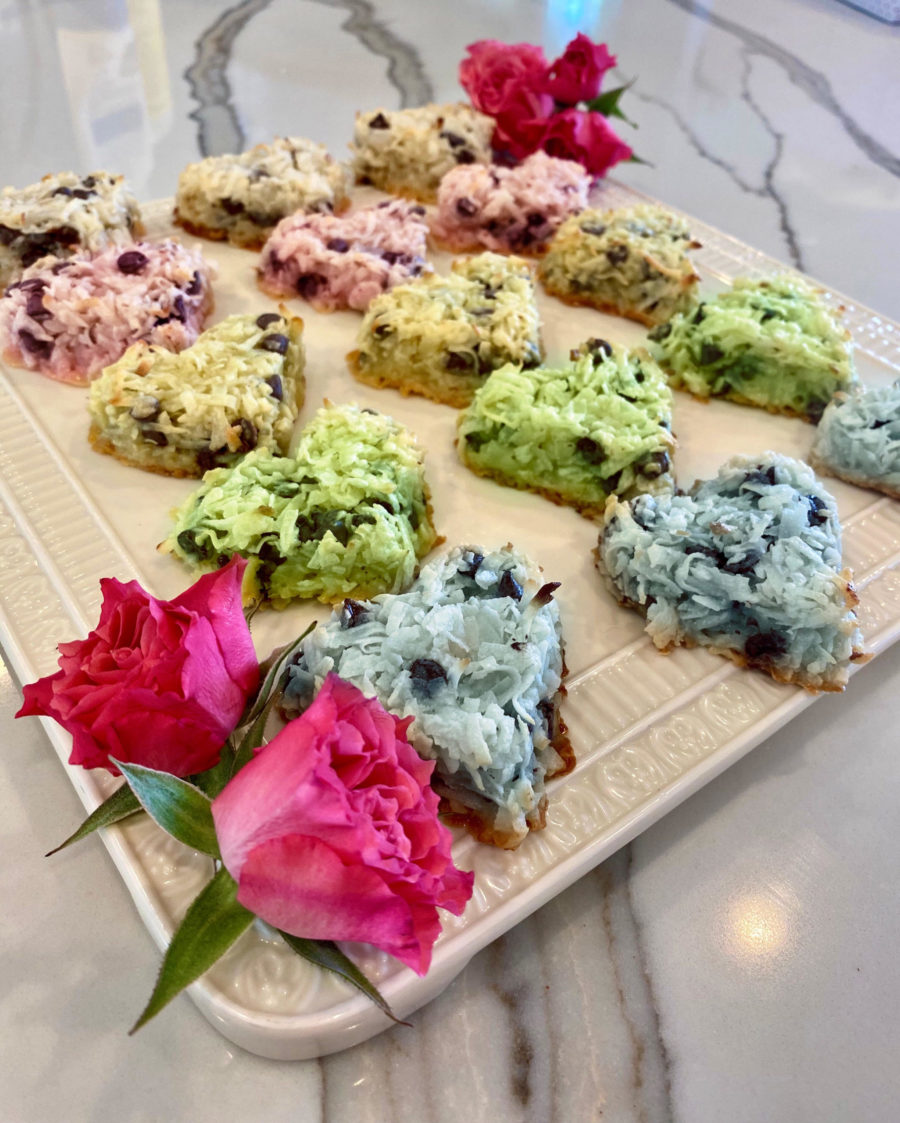Organic and Gluten-Free Coconut Macaroons on tray with roses