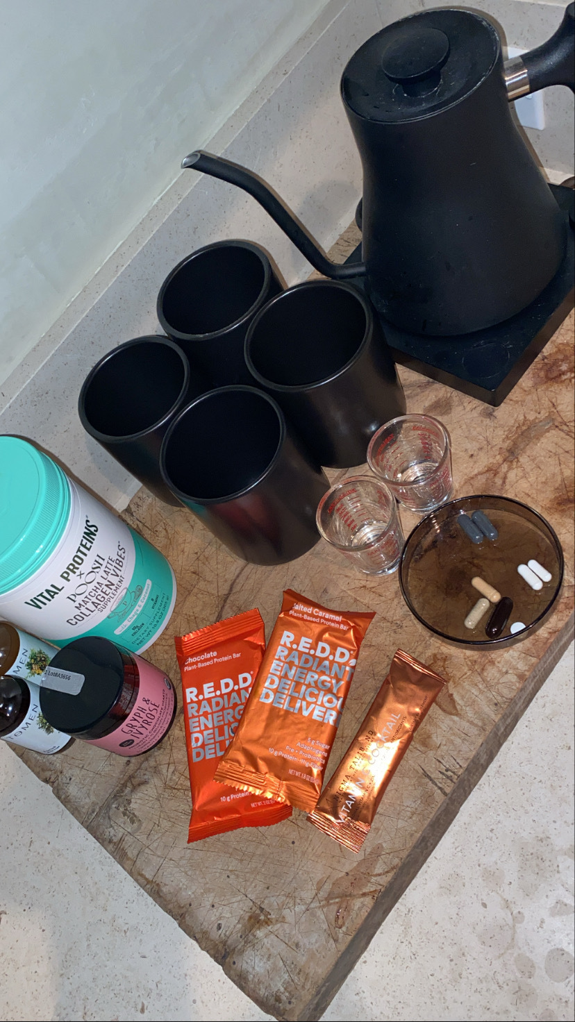 kourtney kardashian mobile tea and supplement setup