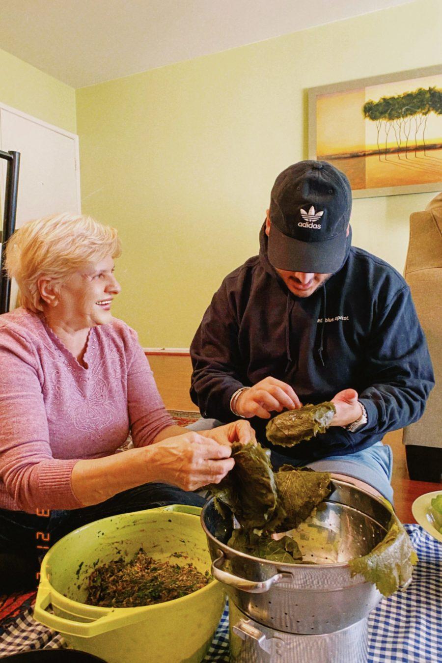 Narbeh and grandmother making dolmas three ways