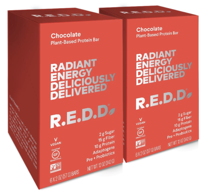 R.E.D.D. Bar Chocolate Plant-Based Protein Bar $36, 12 pack