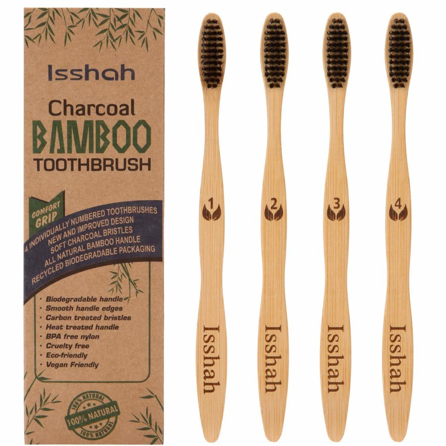 Isshah Biodegradable Eco-Friendly Natural Bamboo Charcoal Toothbrushes ($6)