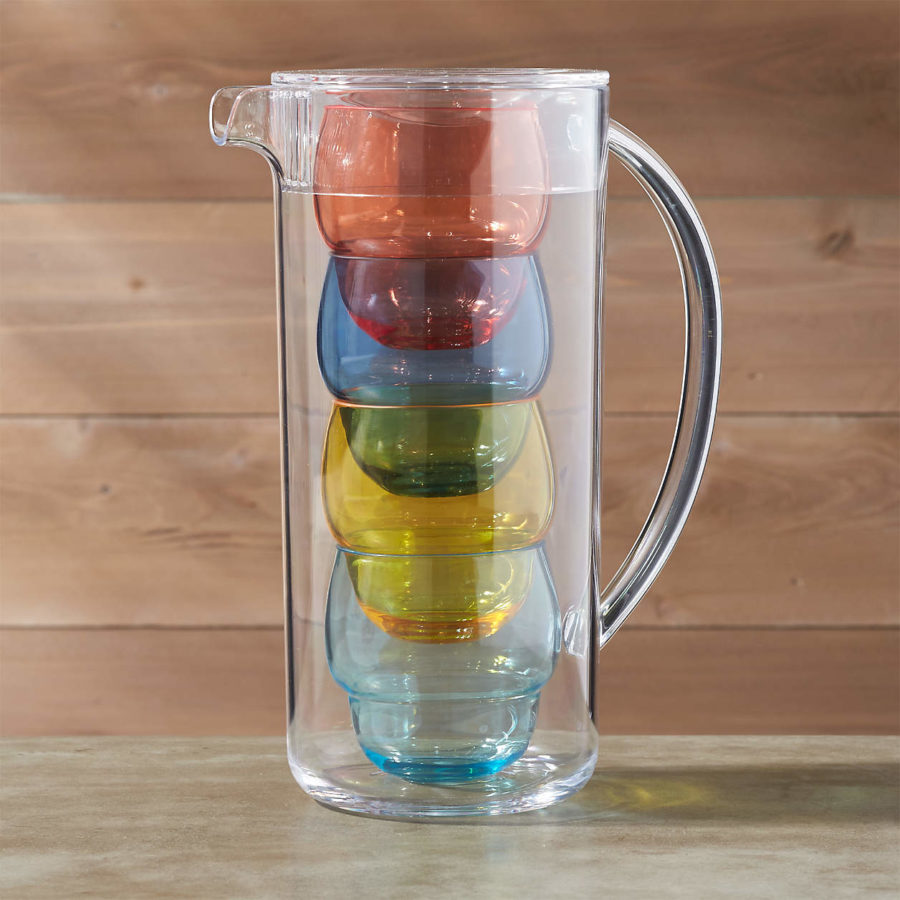 Crate & Barrel Pitcher with 4 Bubble Tumblers ($40)