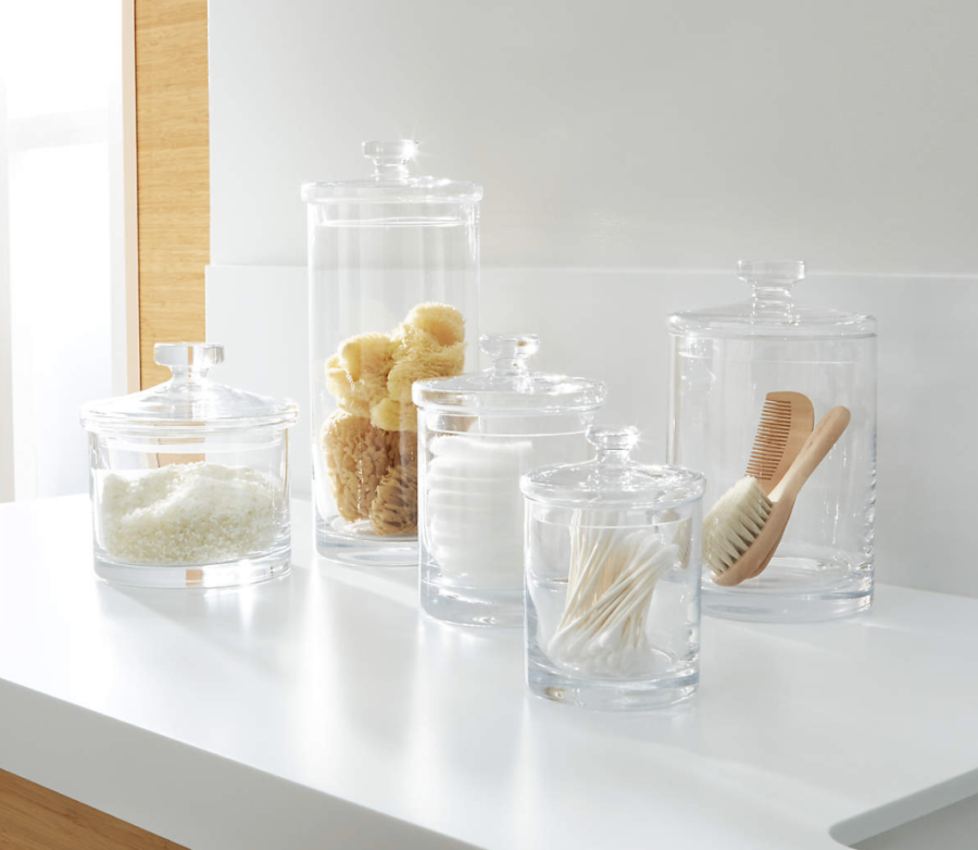 Crate & Barrel Set of 5 Glass Canisters ($120)
