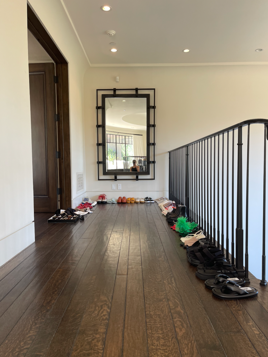 Kourtney Kardashian hallway of shoes