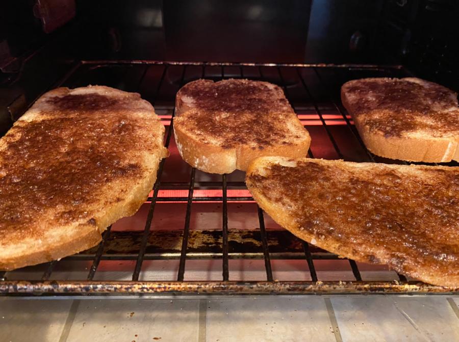 Cinnamon toast cooking