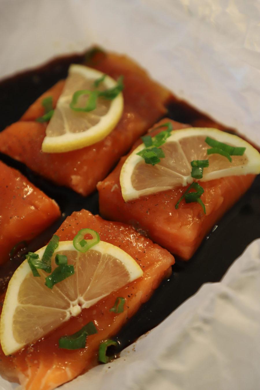 Closeup of Honey Soy Salmon Squares