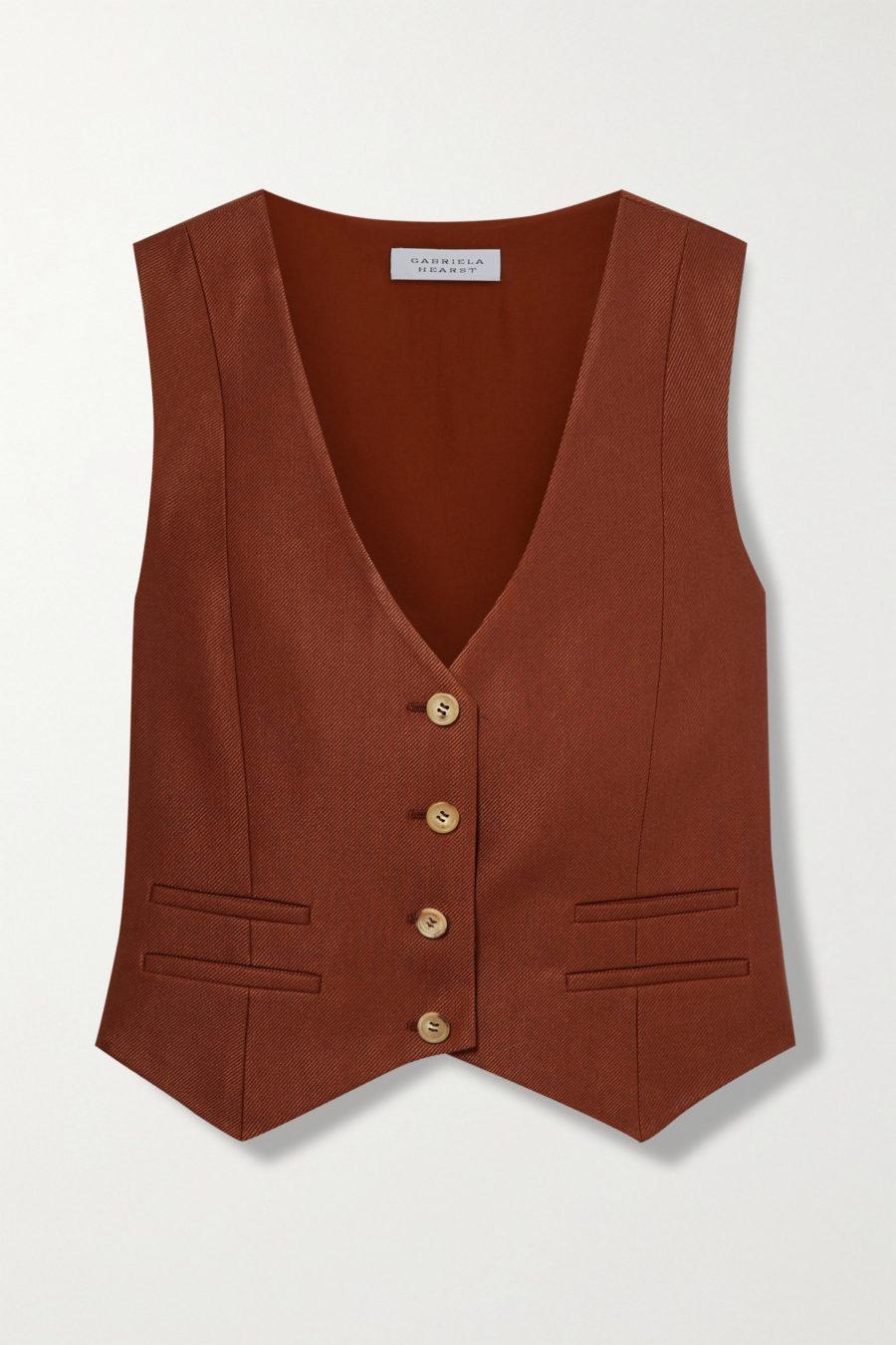 Gabriela Hearst Zelos wool and silk-blend twill vest ($850)