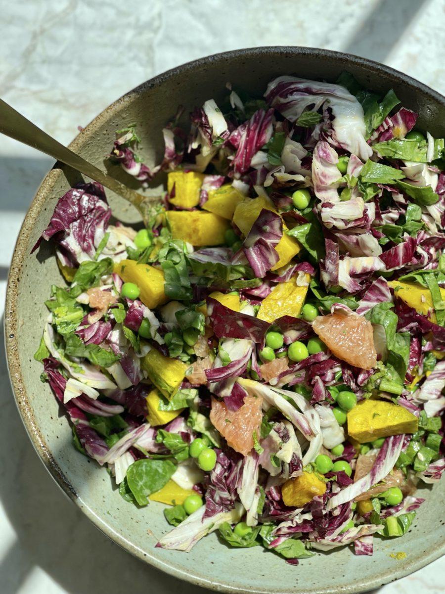 Summer Pea and Grapefruit Salad with Kabocha Squash in big bowl
