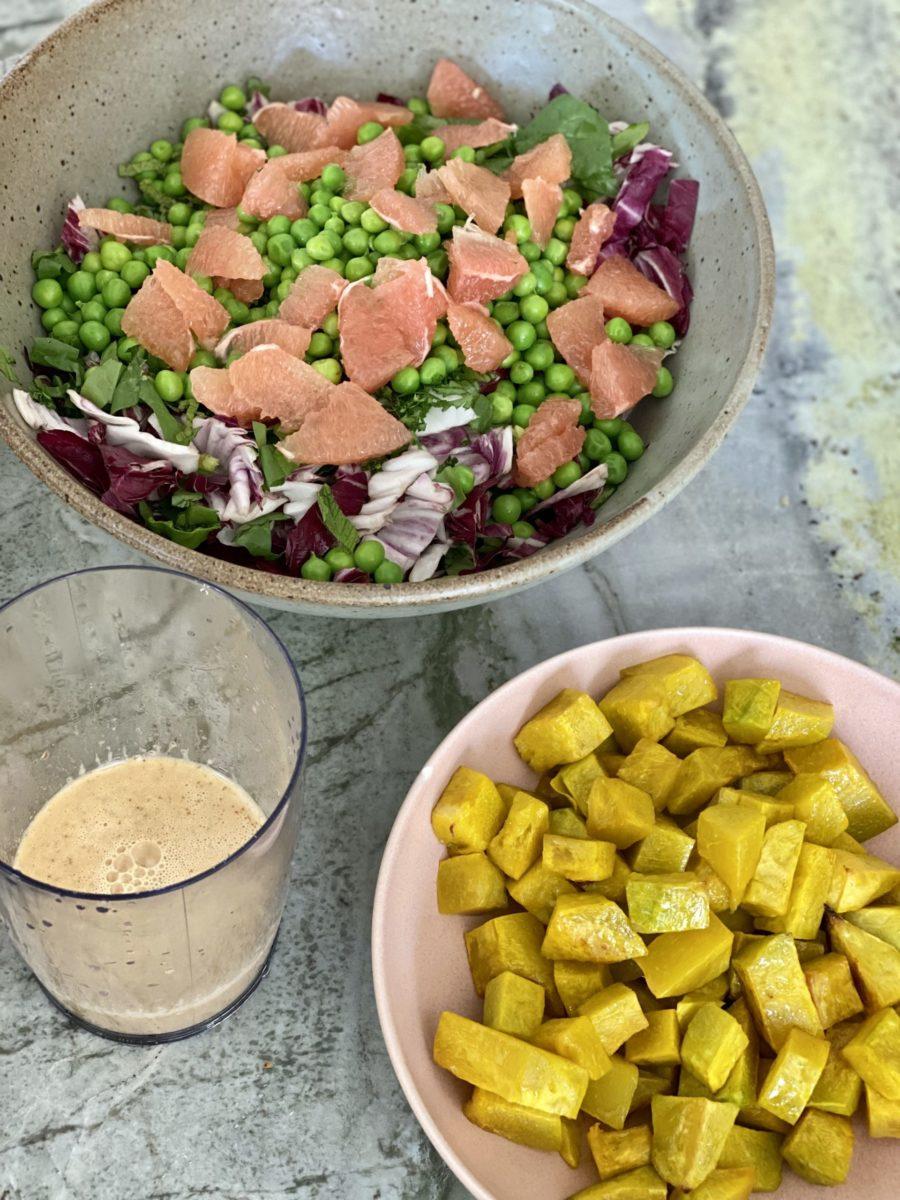 Summer Pea and Grapefruit Salad with Kabocha Squash and dressing