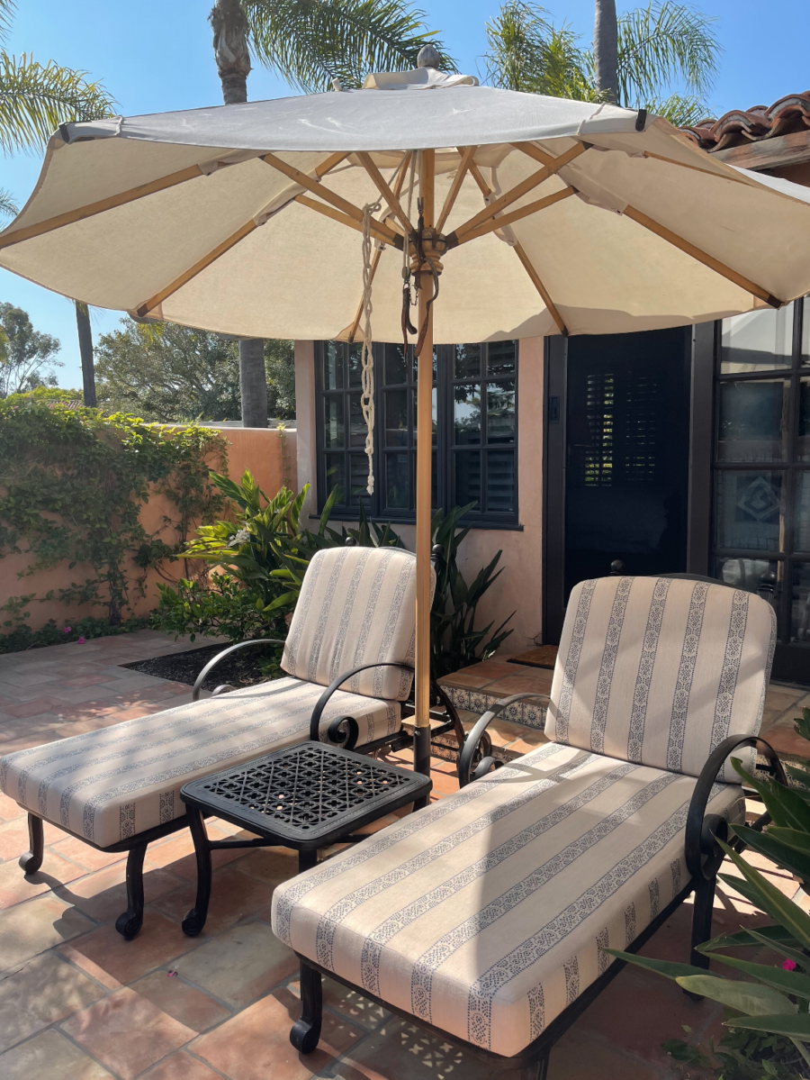 sun chairs in suite at Rancho Valencia