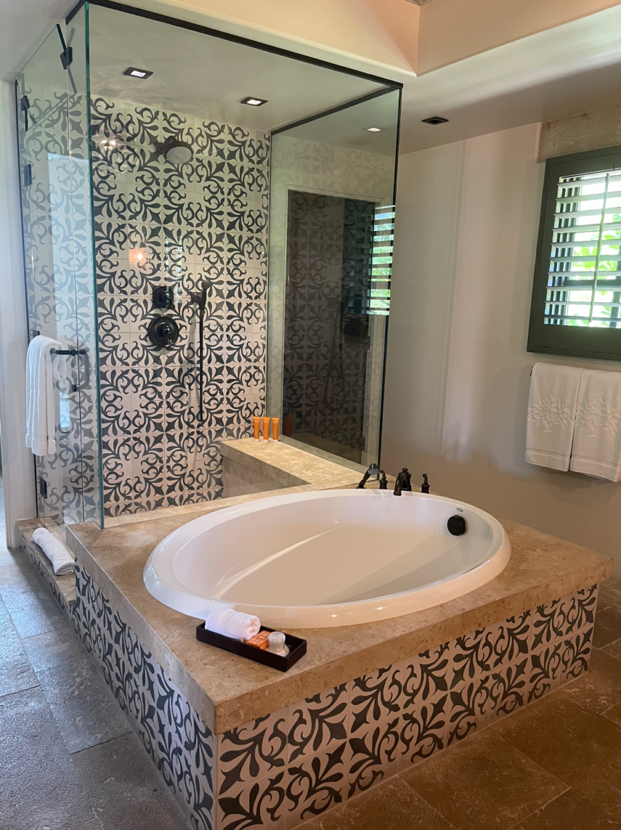 bath and shower in suite at Rancho Valencia