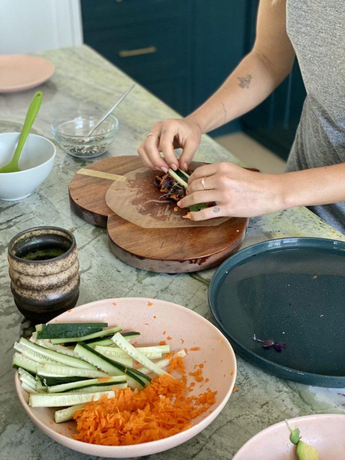 shaynas kitchen summer rolls in the making