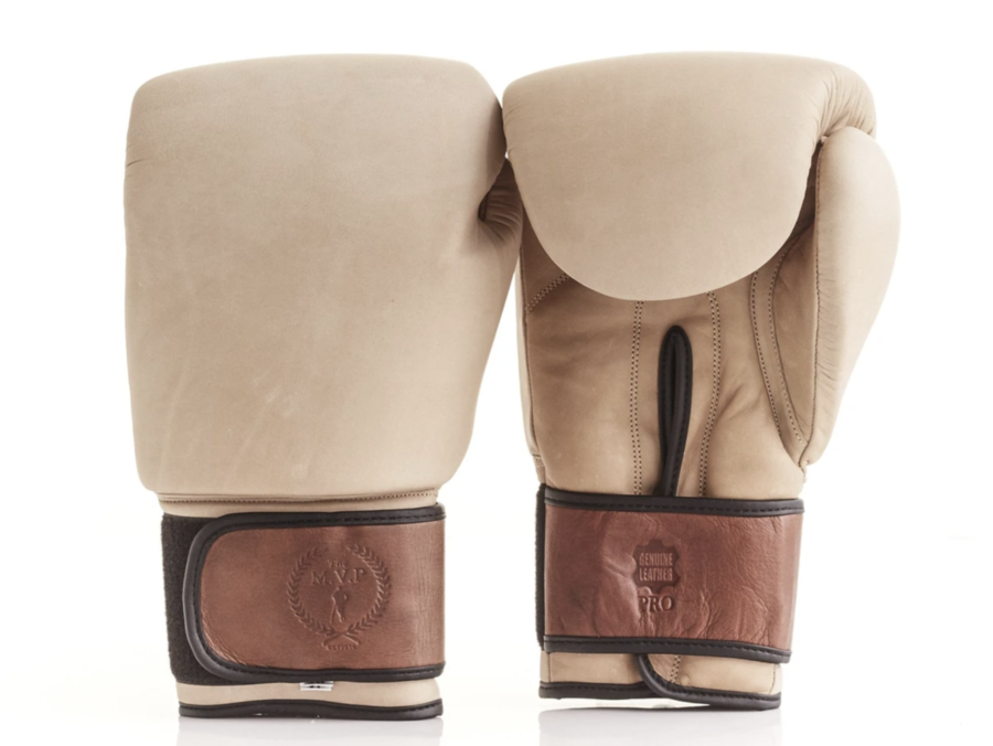 THE MODEST VINTAGE PLAYER PRO CREAM / BROWN LEATHER BOXING GLOVES $105