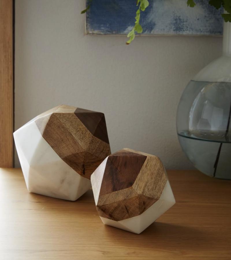 West Elm Marble + Wood $50Object, Large Octahedron
