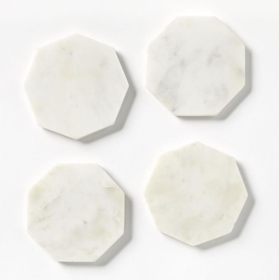 West Elm Stone Octagonal Coasters, Set of 4, White $39