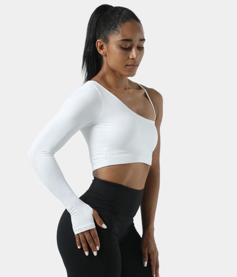 Halara Bloom, Asymmetric Sleeve Cropped Sports Top $30