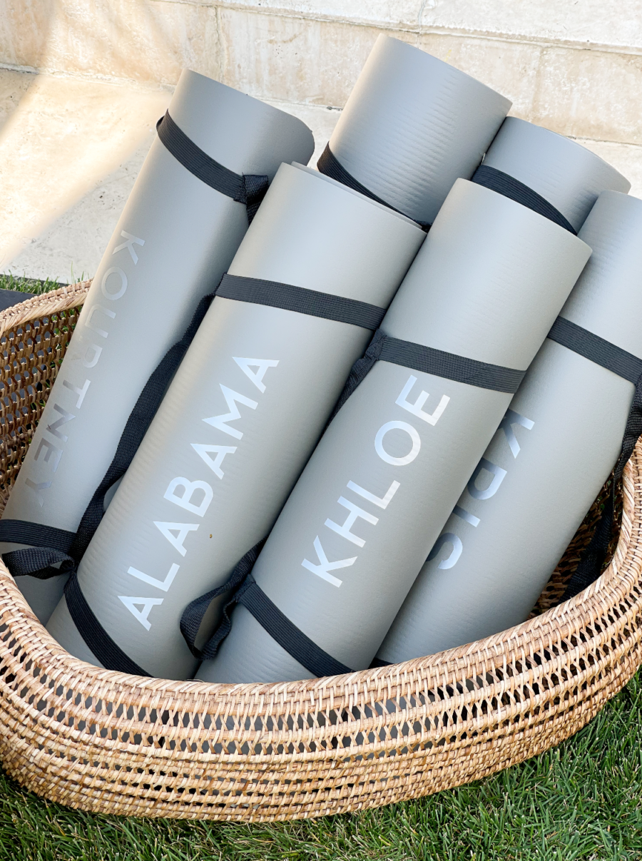 personalized yoga mats at poosh poolside event