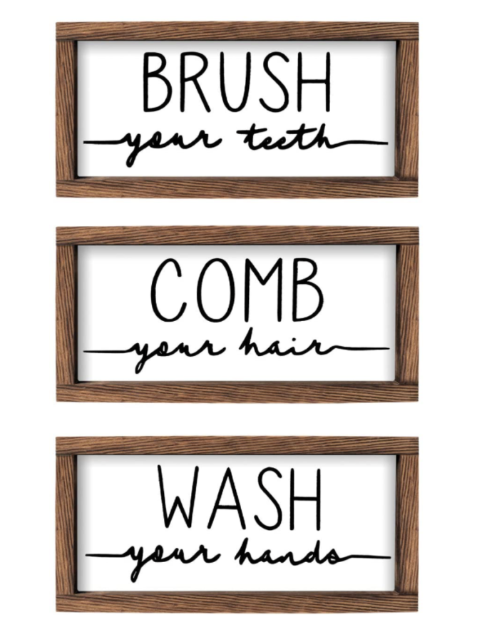 LIBWYS Bathroom Sign & Plaque (Set of 3) $21
