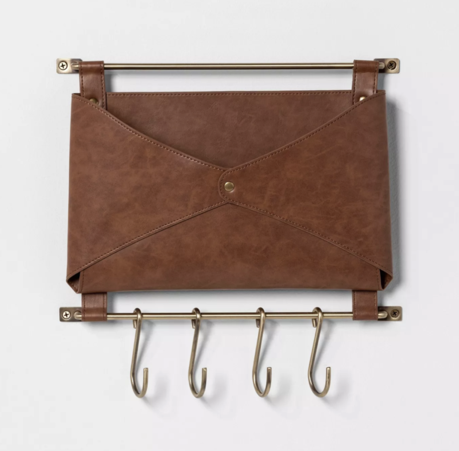 Entryway Metal Hook Rail with Faux Leather Folio Brown - Threshold™ $24
