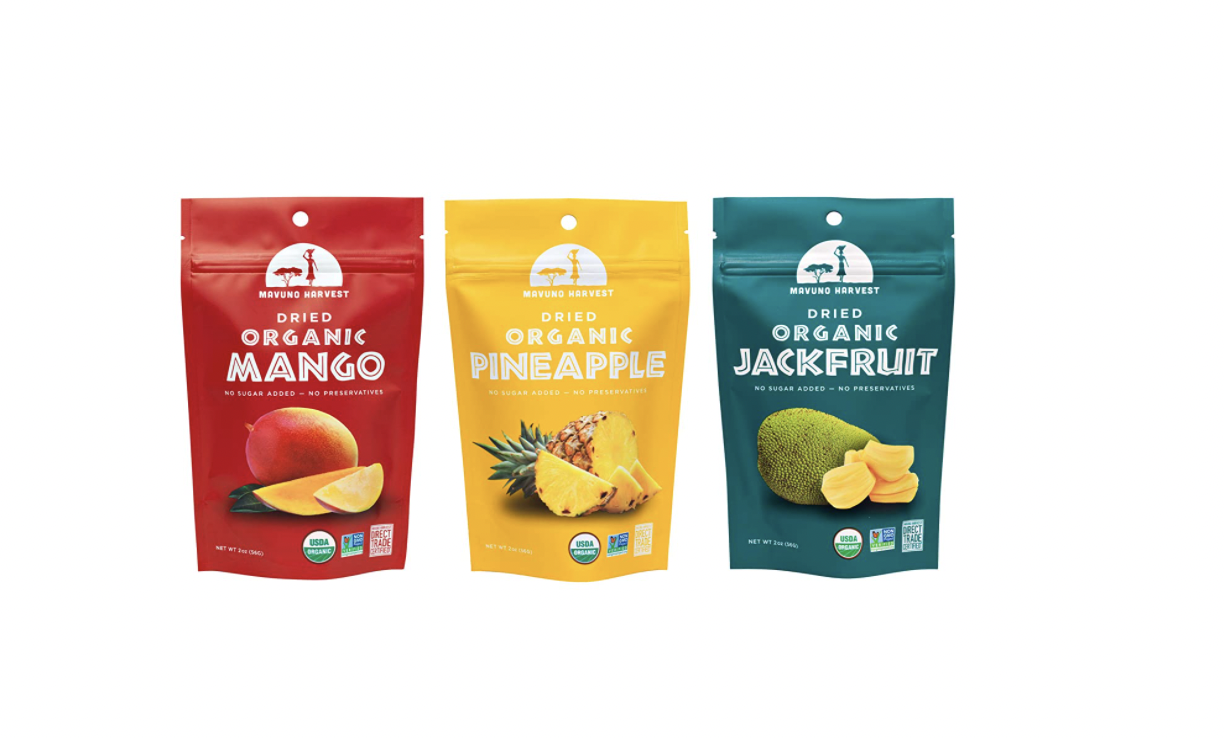 Mavuno Harvest Direct Trade Organic Dried Fruit Variety Pack, Mango, Pineapple, and Jackfruit, 3 Count $13