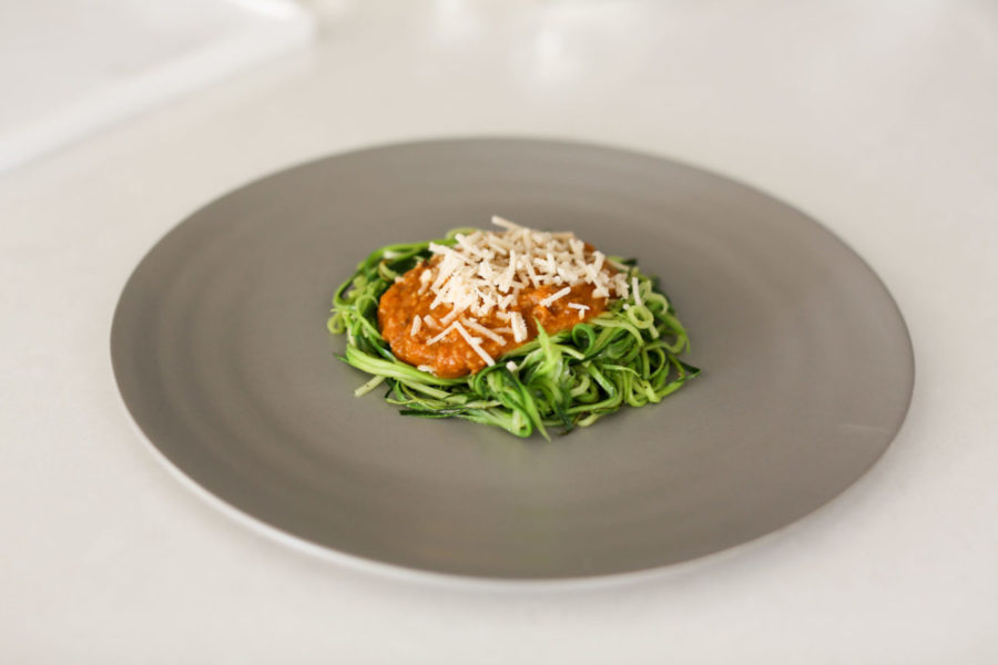 zoodles with vegan bolognese
